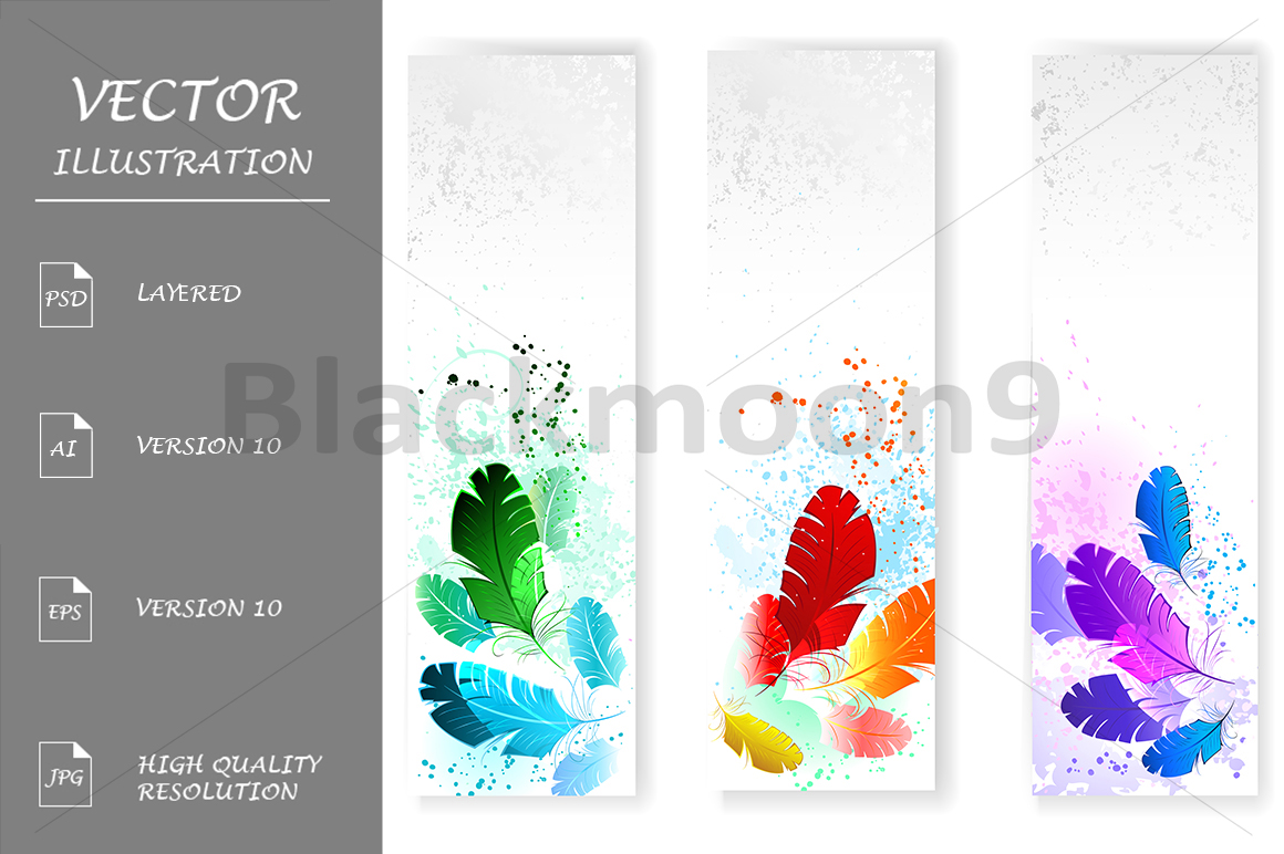 Three Banners with Colored Feathers example image 1