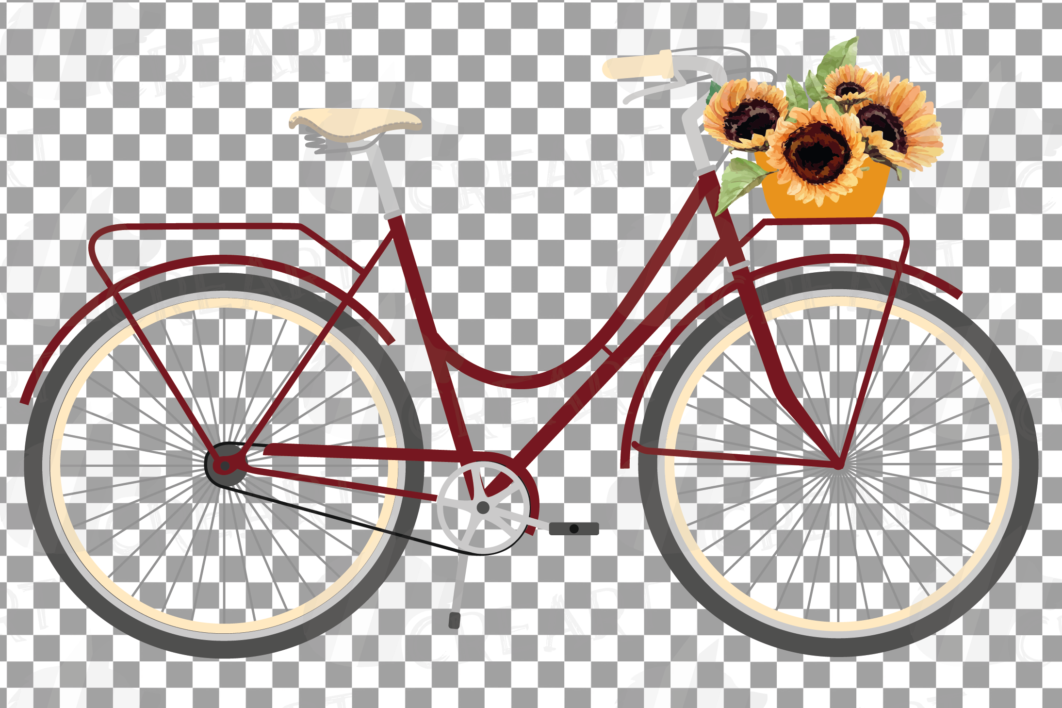 Sunflower bouquets bicycles clip art. Floral bikes decor png example image 6