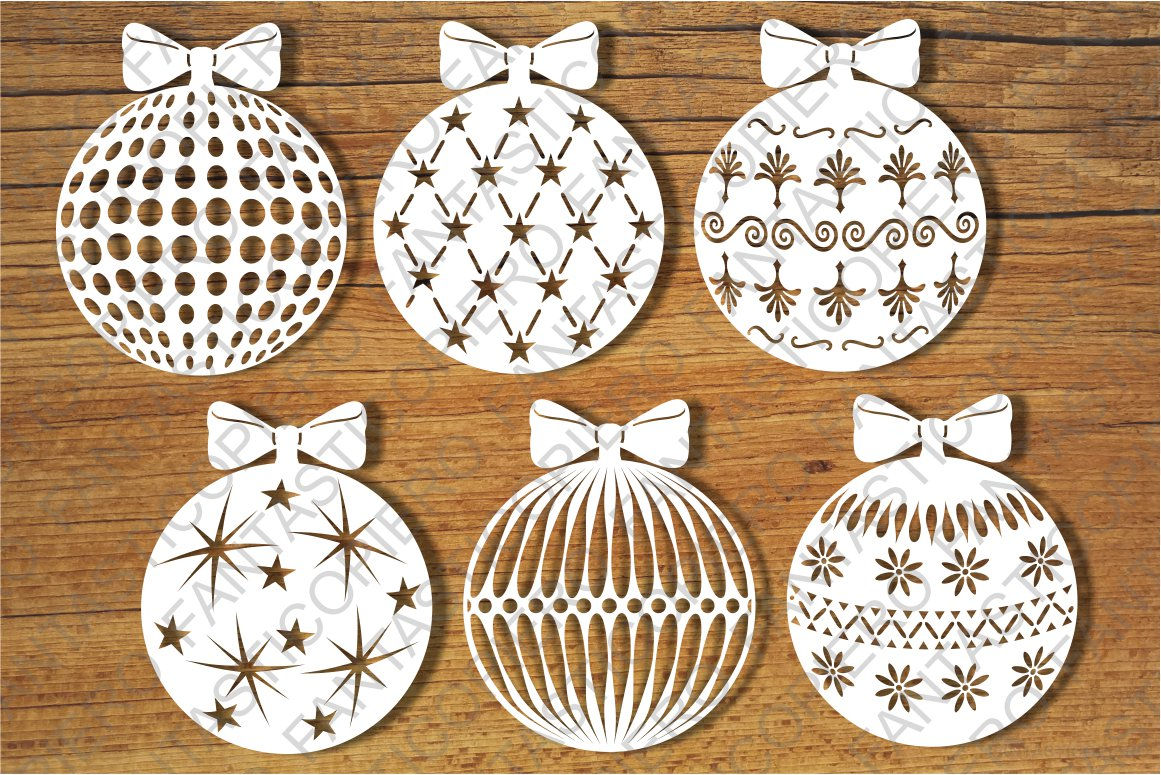Baubles, Decorative Christmas Balls SVG files. example image 1