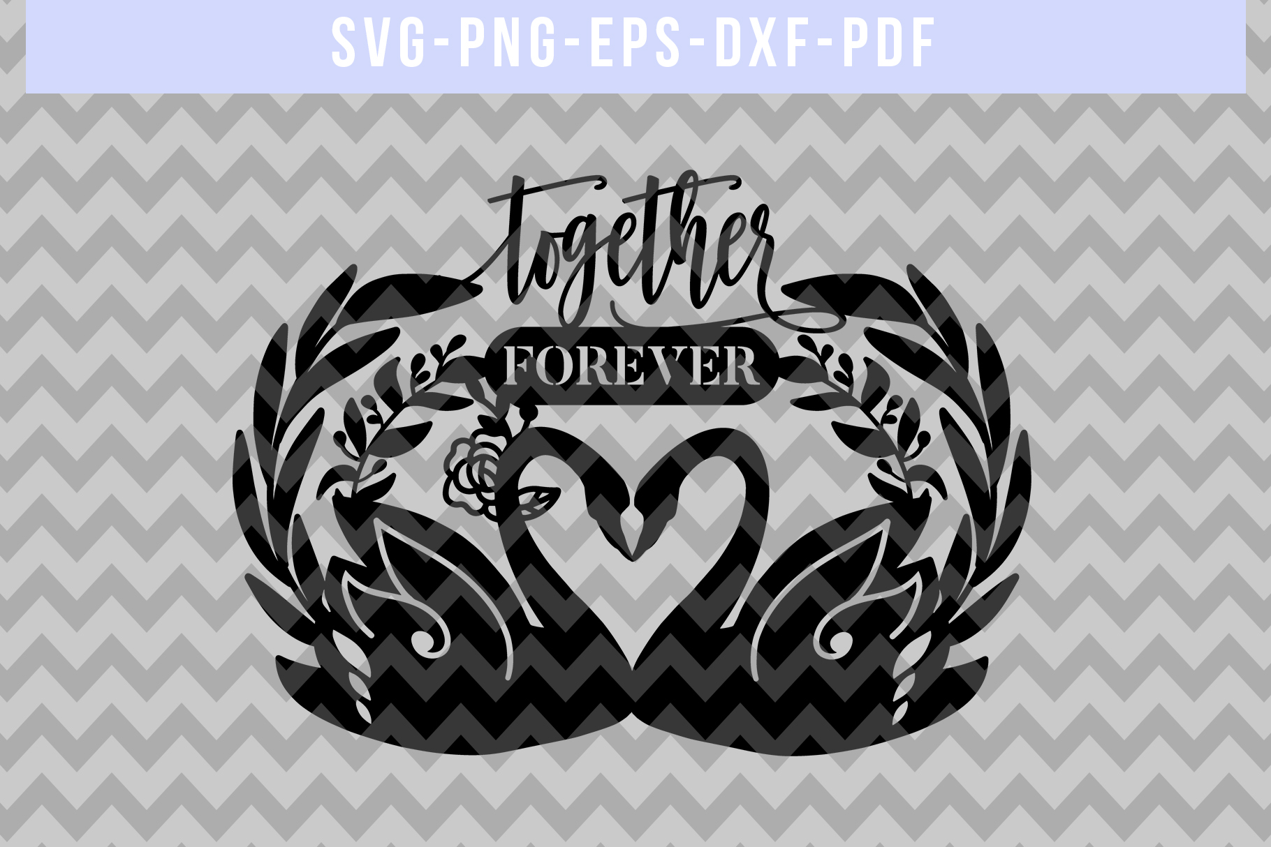 Together Forever Papercut Template, Swan Couple SVG, DXF PDF example image 4