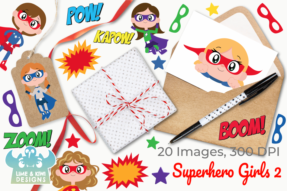 Superhero Girls 2 Clipart, Instant Download Vector Art example image 4