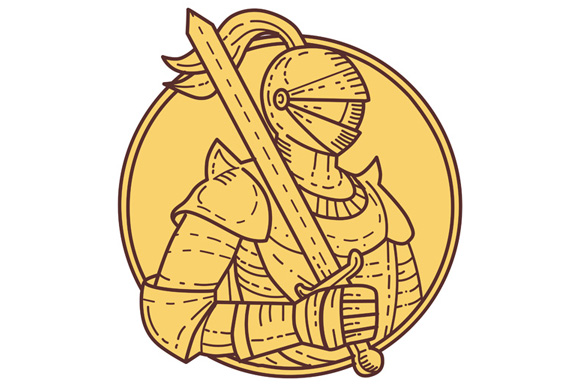Knight Sword On Shoulder Circle Mono Line example image 1