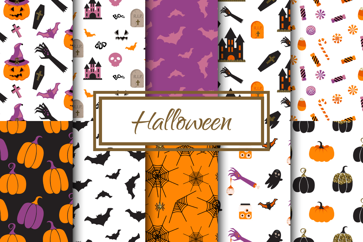 Happy Halloween Seamless Patterns example image 1