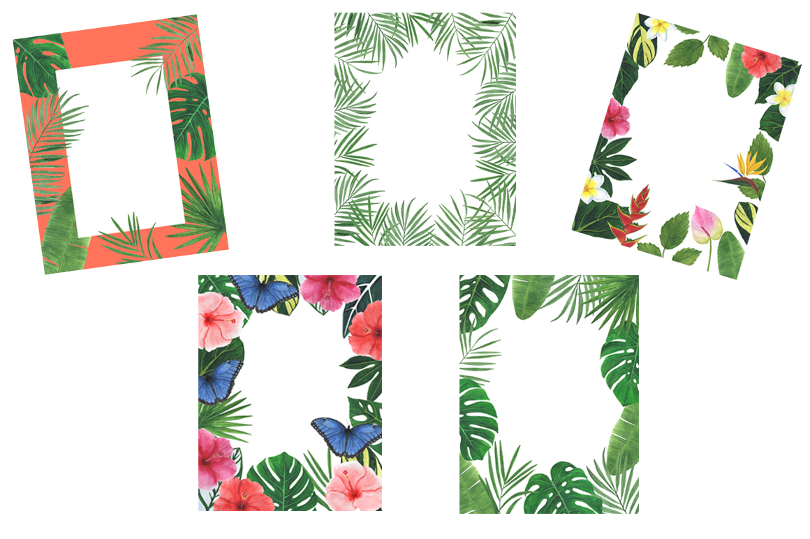 Watercolor tropical clipart example image 9