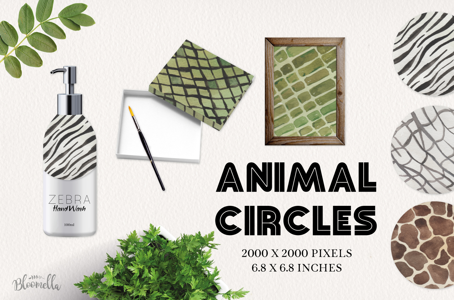 Animal Patterns - Watercolor Hand-Painted Circles example image 2