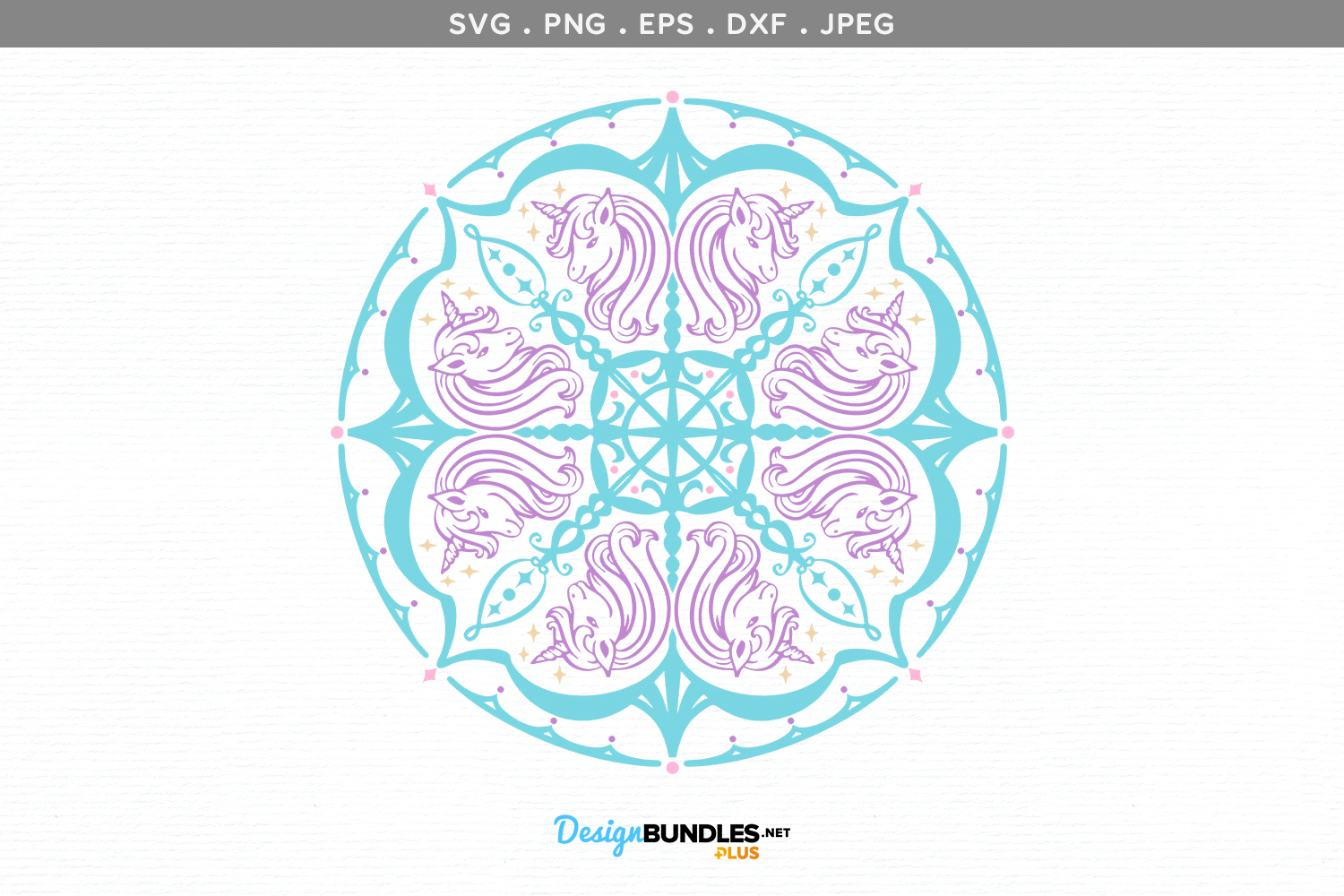Unicorn Mandala - svg, printable example image 2