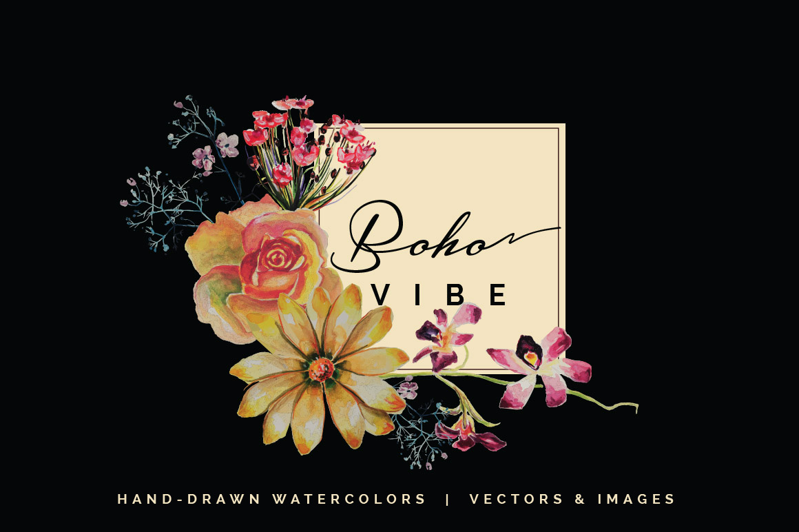 Boho Vibe-Vector Watercolors example image 1