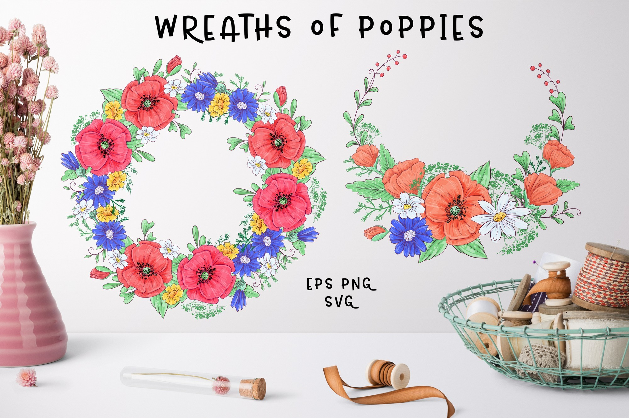Cute Foxes and poppies - vector clip art example image 3