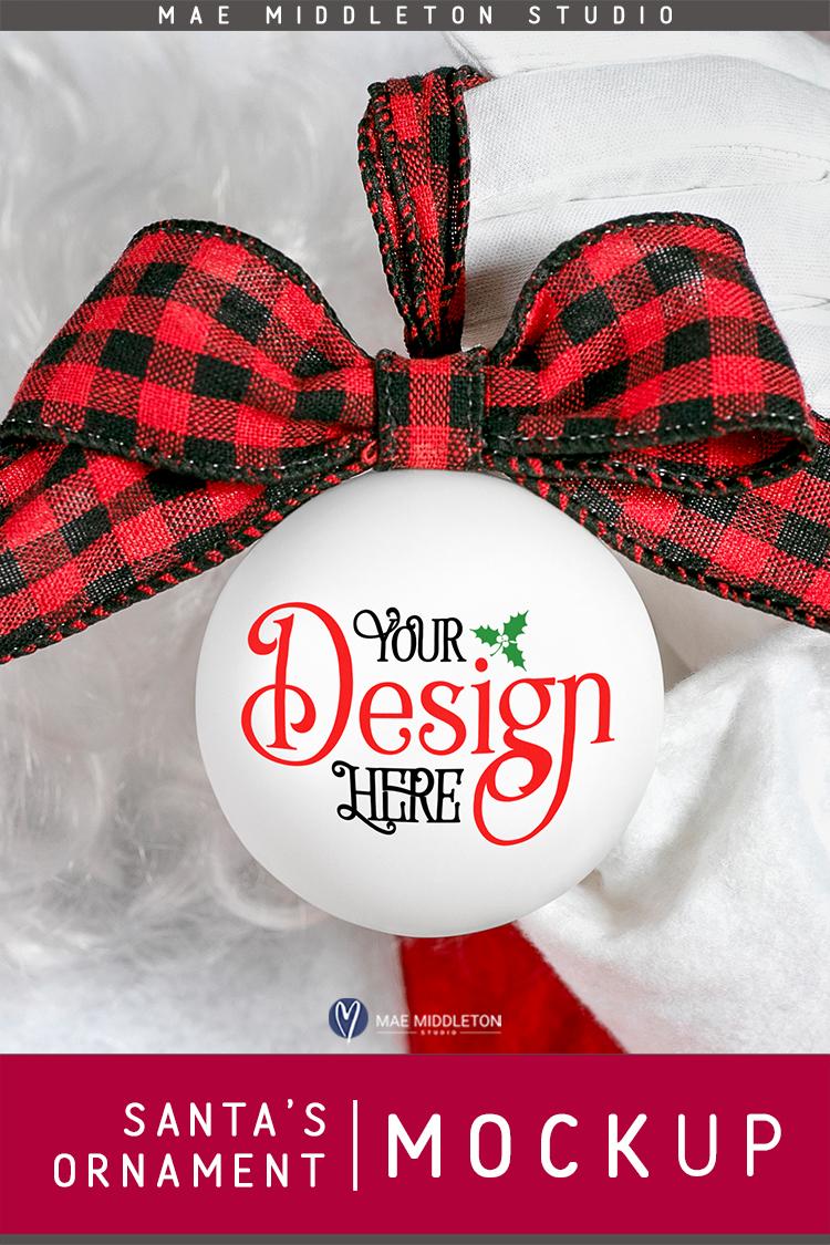 Christmas Mock up - Santa's White Ornament example image 3
