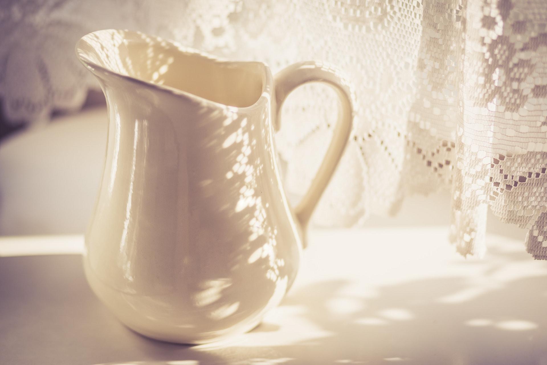 Milk Jug with Lacy Shadow - Warm Tone