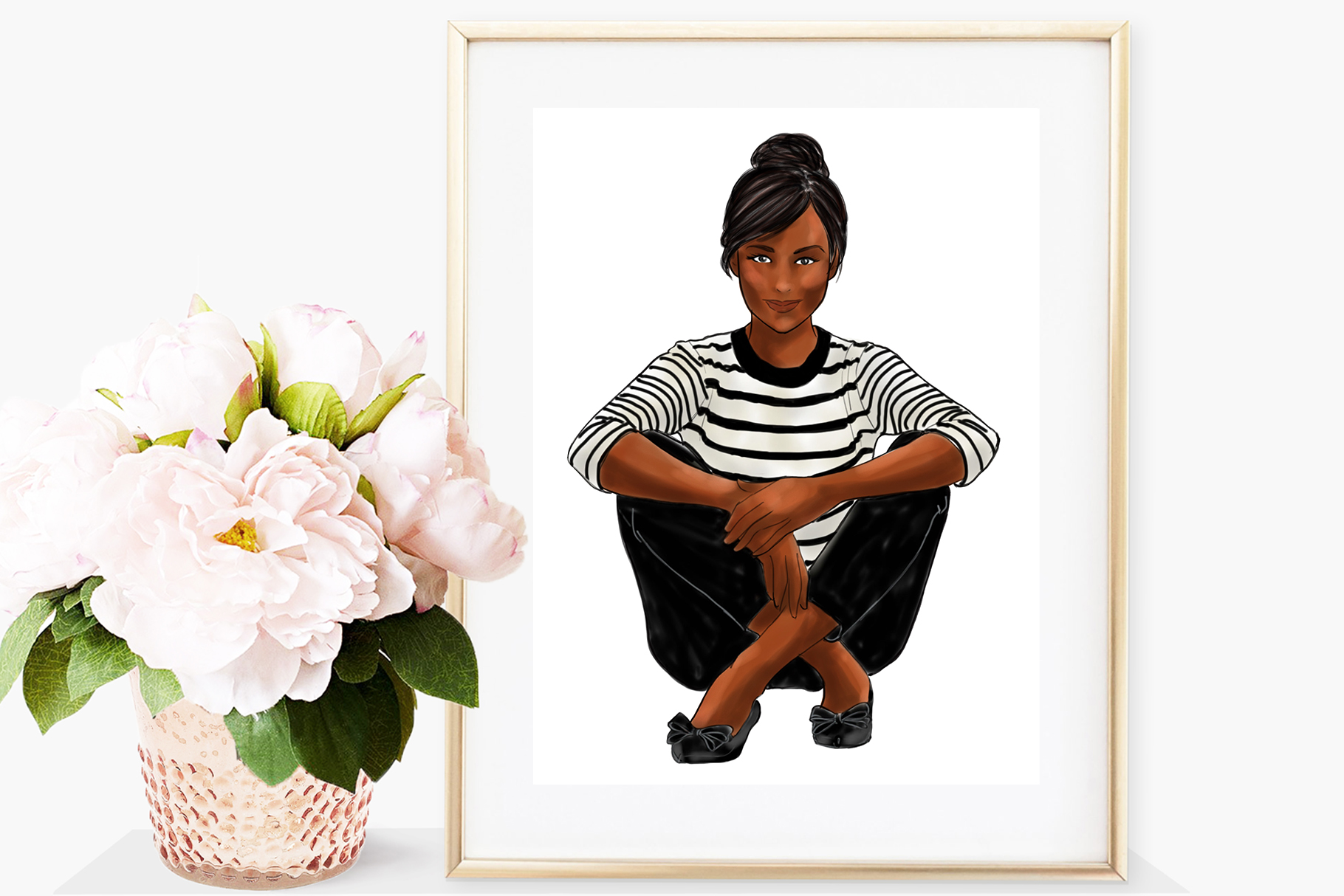 Fashion illustration - Girls in striped T - Dark Skin example image 4