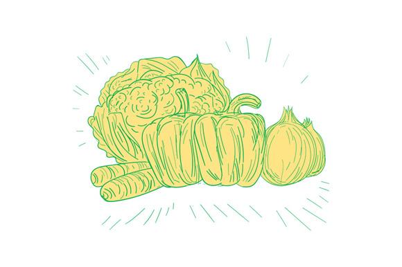 Brocolli Capsicum Onion Drawing example image 1