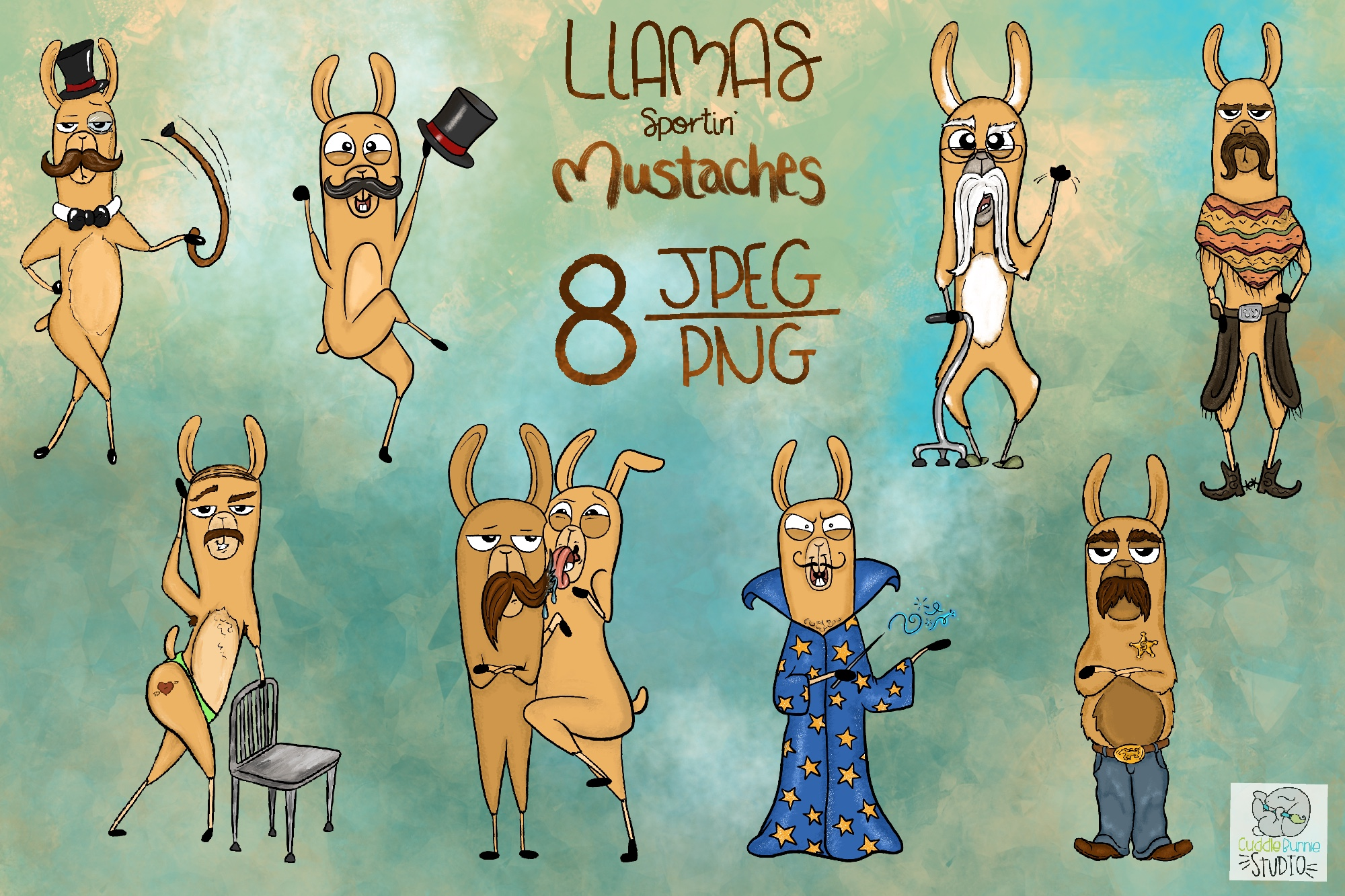 Llamas with Mustaches | Funny llamas | Mustache Clipart example image 2