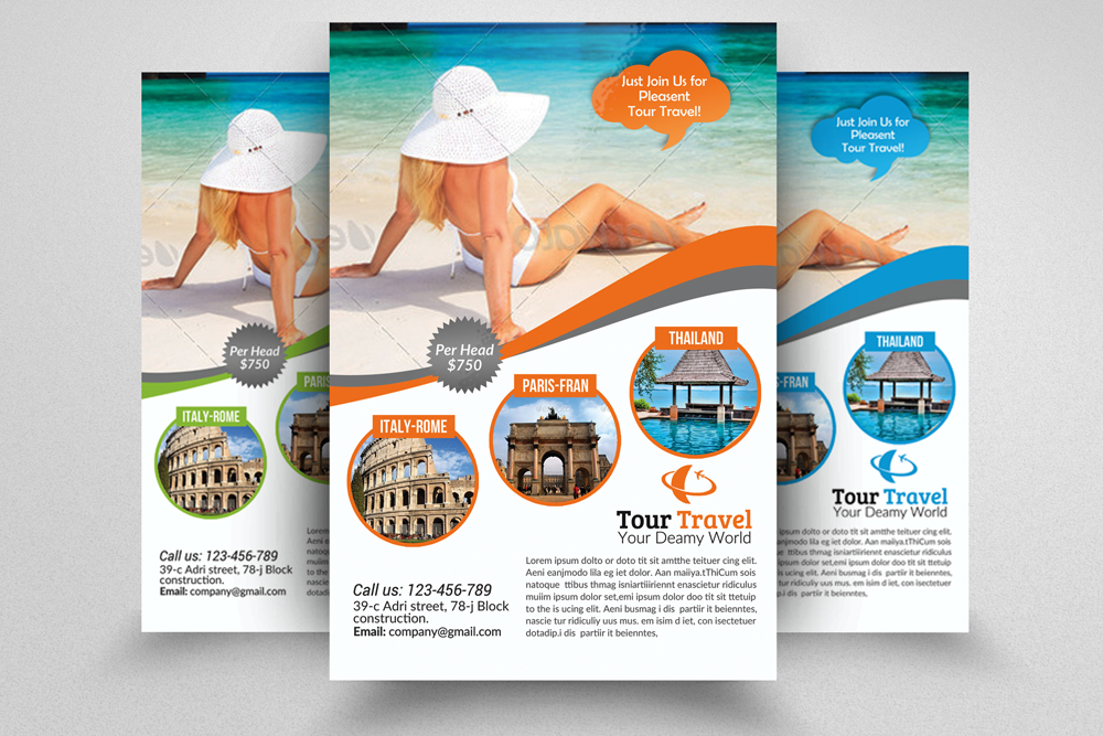 6 Tour Travel & Holiday Agency Flyers Bundle example image 7