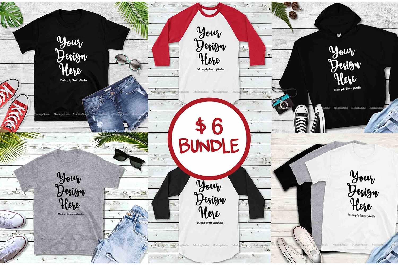 Tshirt Mockup Bundle, Unisex Shirt Mock Up Basic Bundle example image 1
