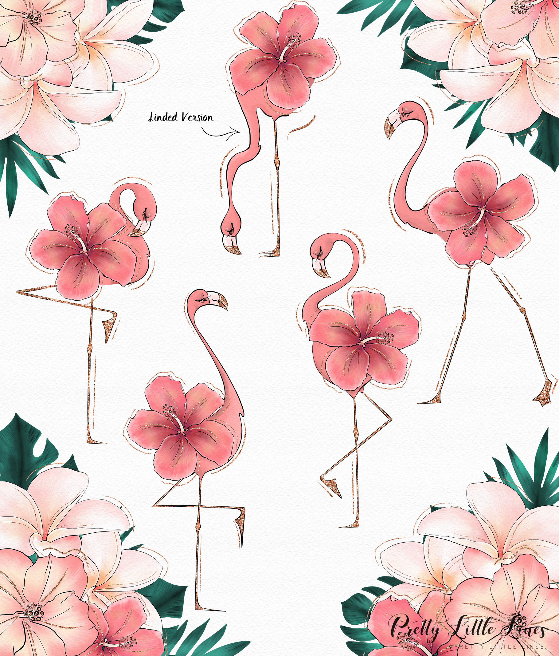Tropical Flowers & Flamingos example image 5