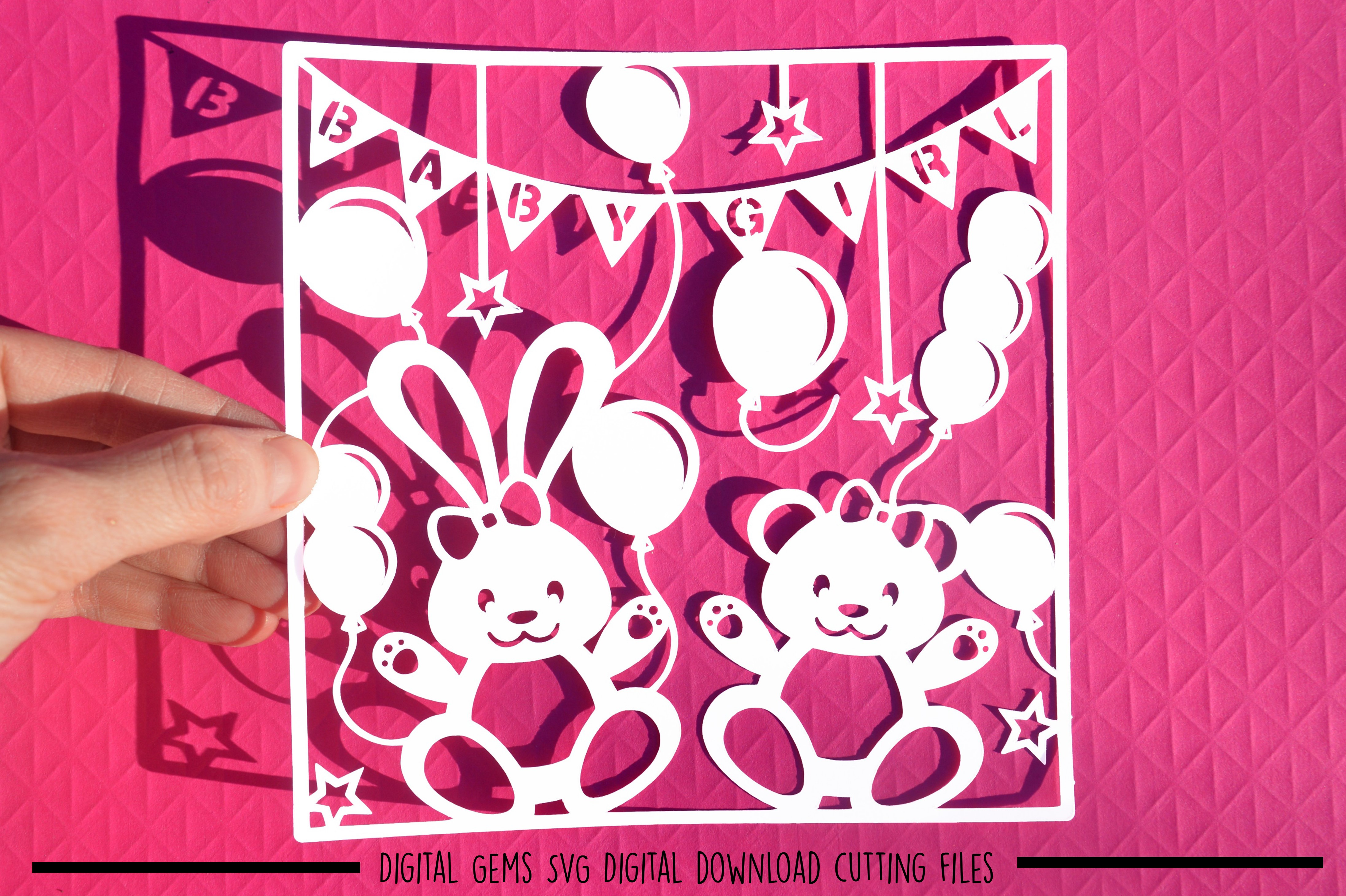 Baby Girl paper cut SVG / DXF / EPS files example image 1
