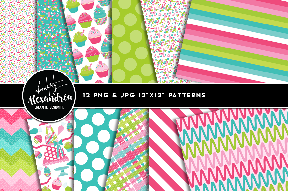 Cupcake Cutie Clipart Graphics & Digital Paper Patterns Bundle example image 2