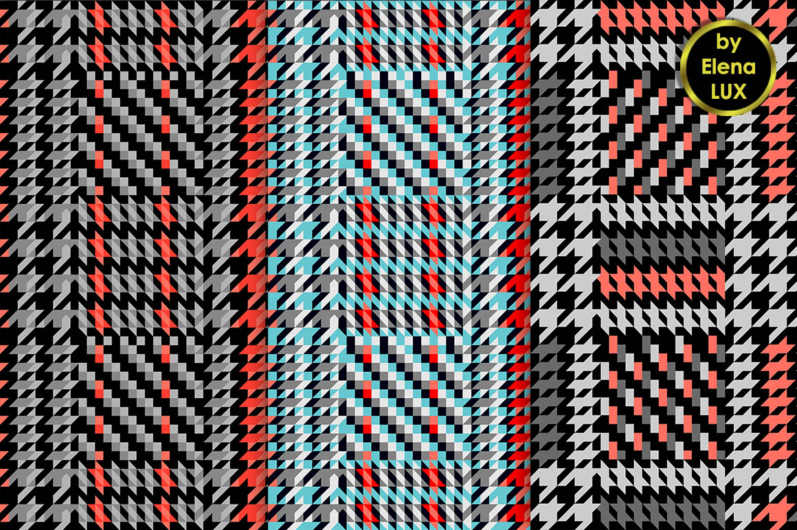 Houndstooth Seamless Pattern Set example image 3