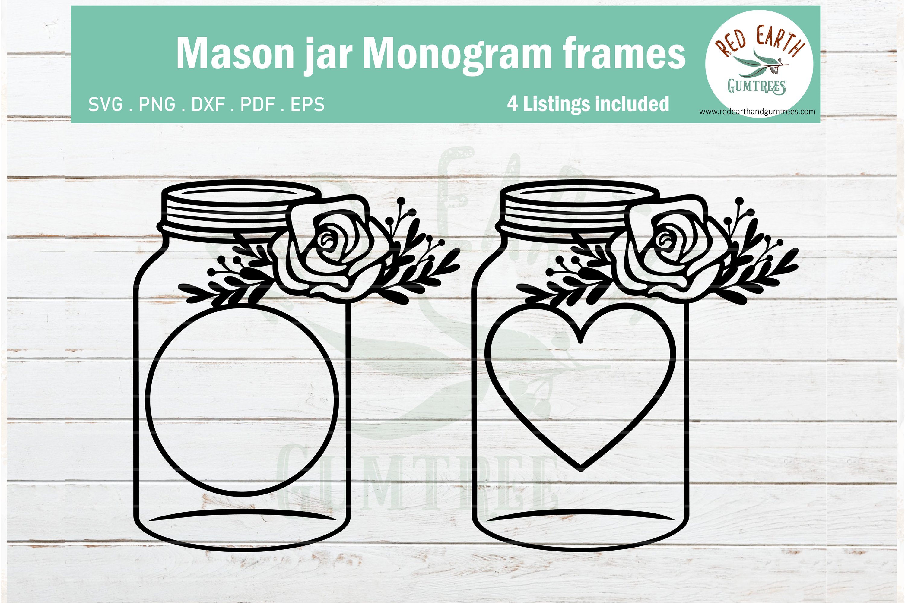 Floral mason jar, wedding mason jar monogram SVG,PNG,DXF,EPS example image 2
