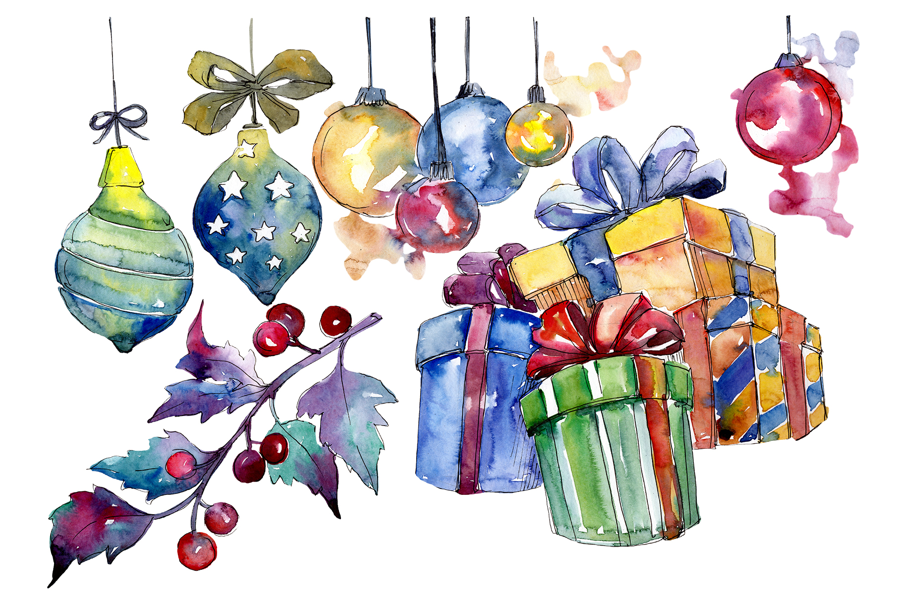 Christmas gift PNG watercolor set example image 1