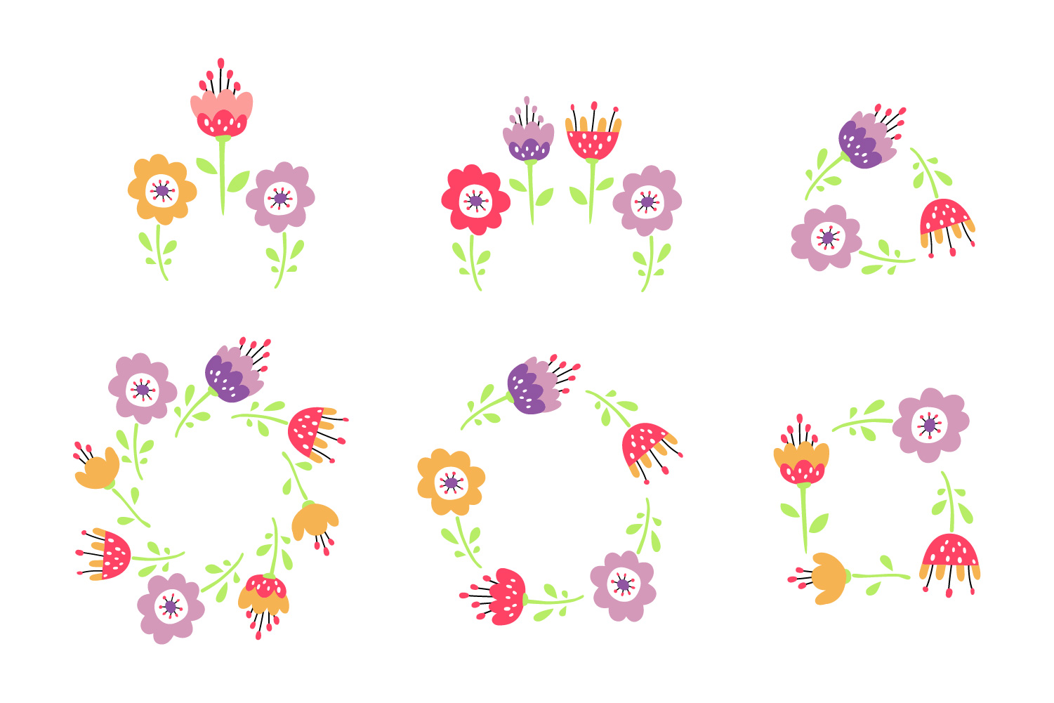 Flower design collection svg example image 3
