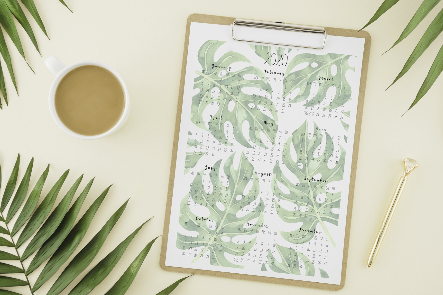 Printable tropical calendar 2020 example image 5