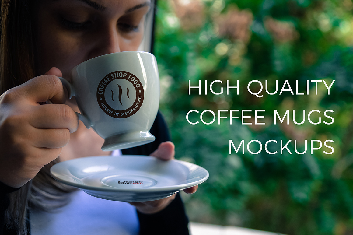 Models with Coffee Mugs Mockups Pack example image 1