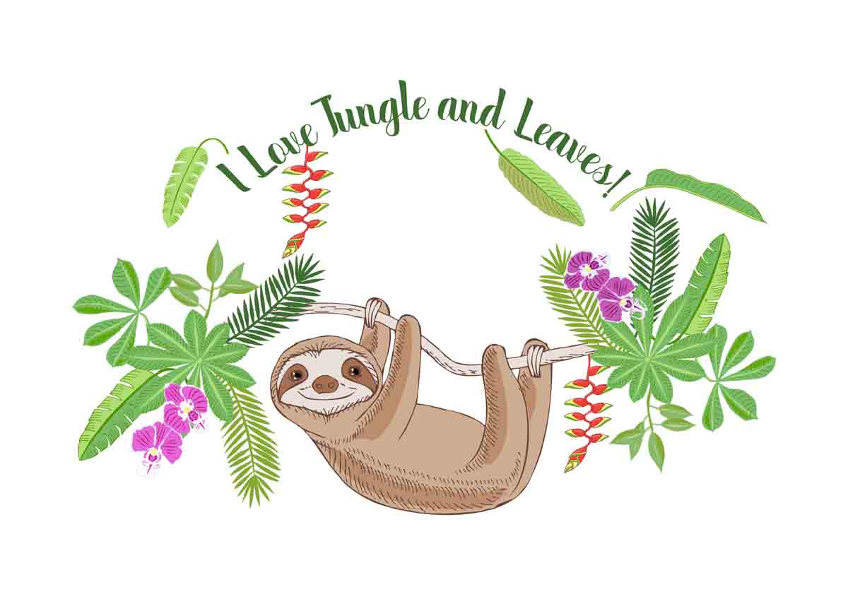 Sloths in Jungle Digital Clipart example image 8