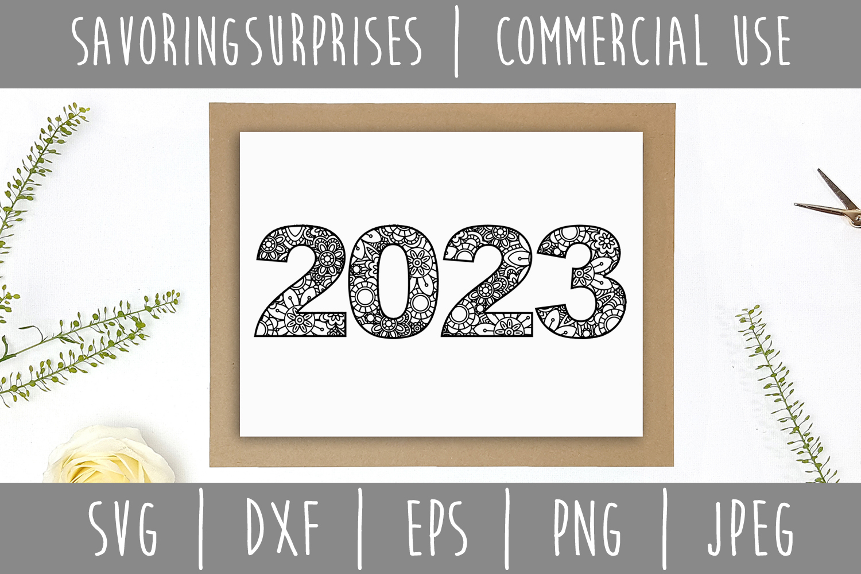 2023 Mandala Zentangle SVG, DXF, EPS, PNG JPEG example image 3