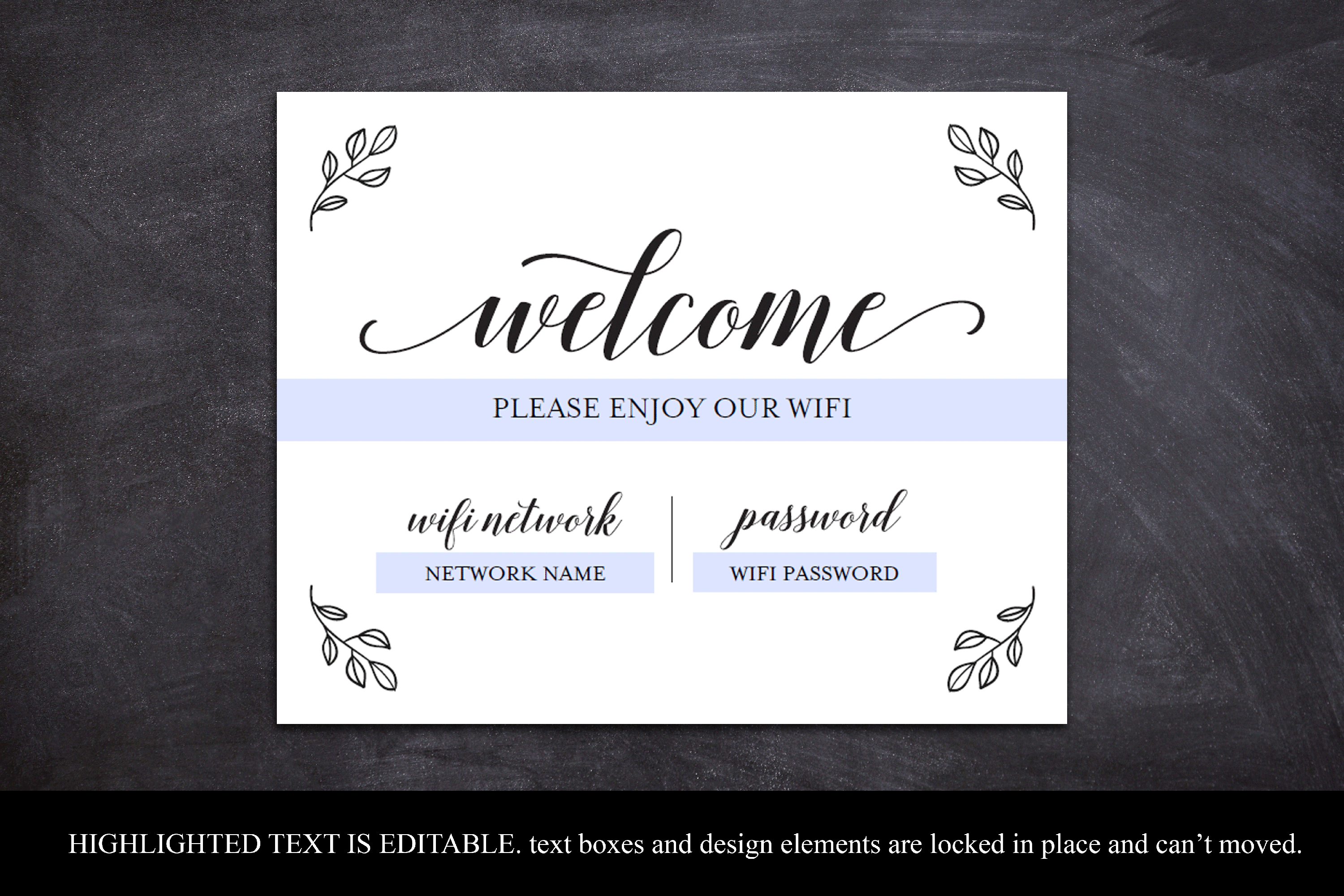 Wifi Password Printable, Wifi Sign Template, Welcome Guest example image 5