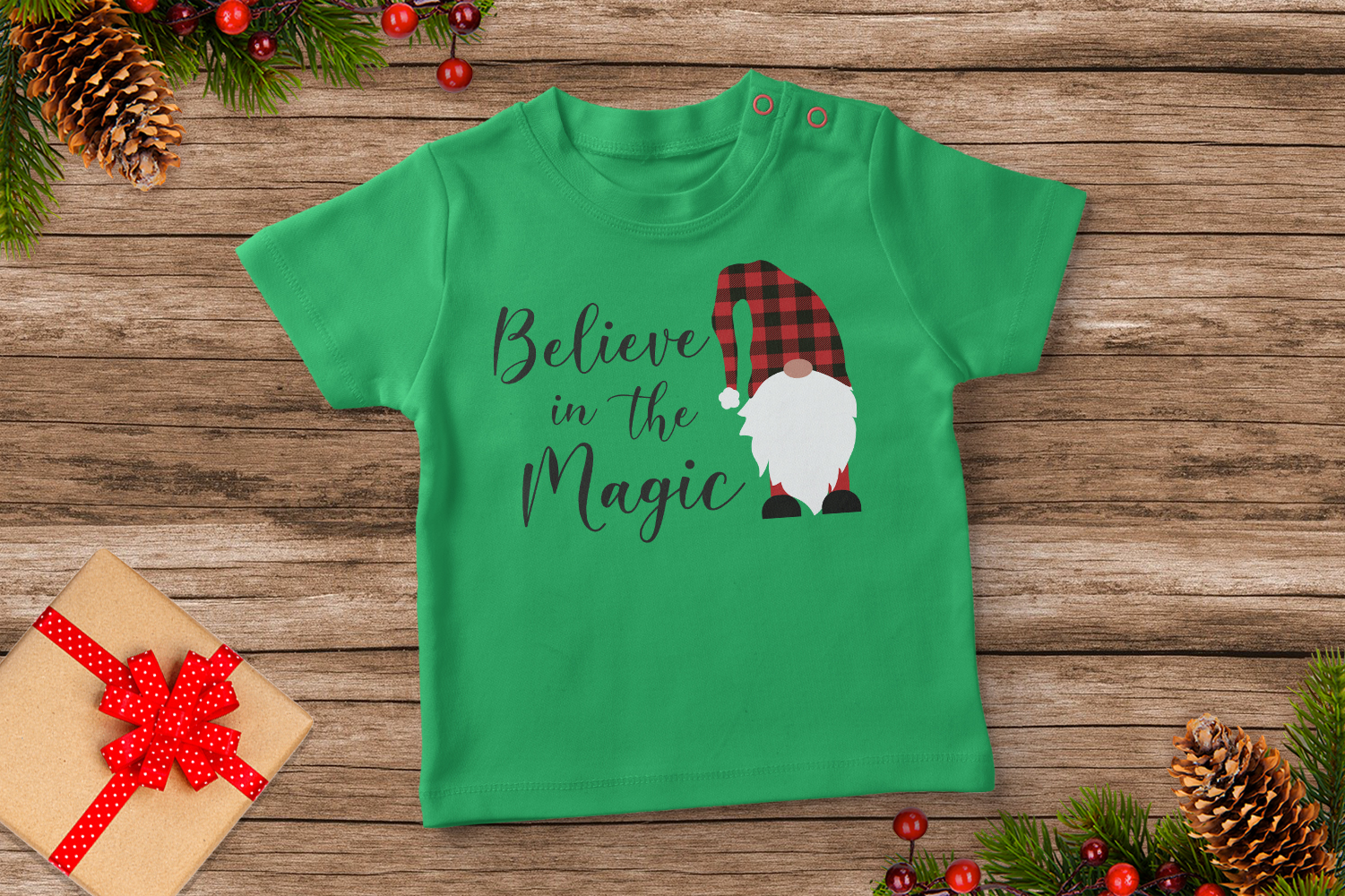Believe in Magic, Gnome Buffalo Plaid Svg example image 5