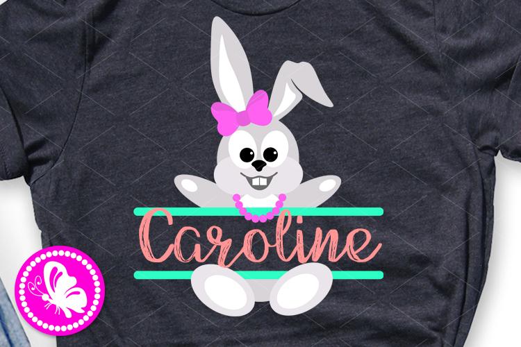 Happy Easter monogram svg Girls shirt Baby girl Cricut png example image 1