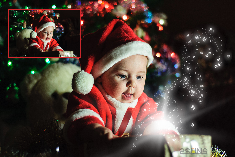 30 Christmas Photo overlays, photoshop overlays, Lamp light example image 5