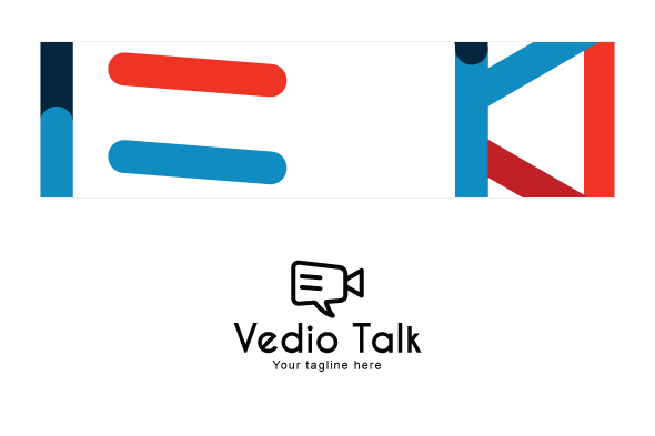 Video Talk - Chat Icon with Movie Camera Stock Logo example image 3