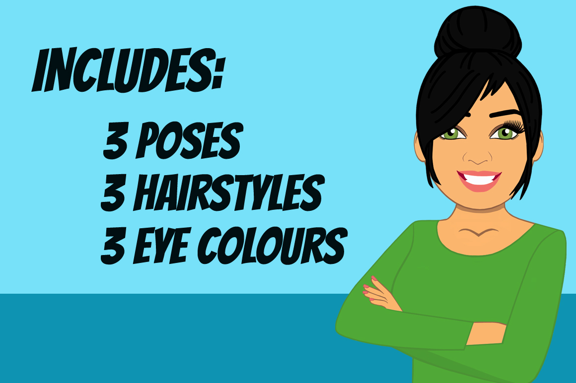Raven Haired Woman Clip Art Bundle | Female Avatar | Graphic example image 2