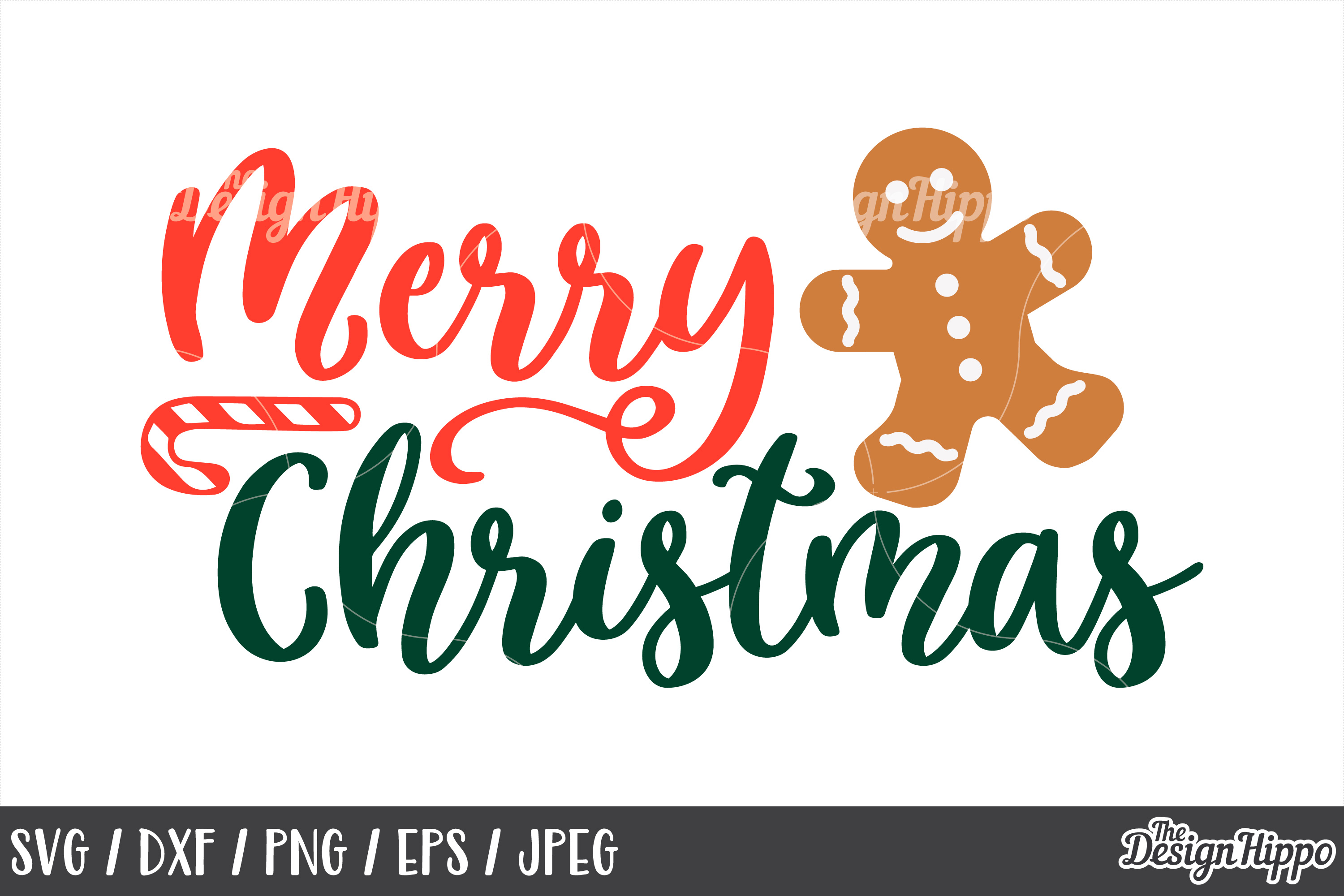 Merry Christmas SVG, Gingerbread, Candy, DXF, PNG, Cut Files example image 1