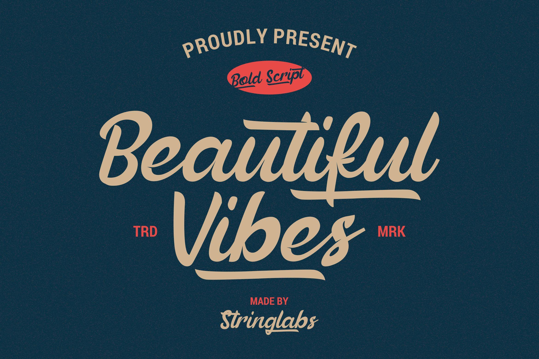Beautiful Vibes - Bold Script Vintage Retro Font example image 1