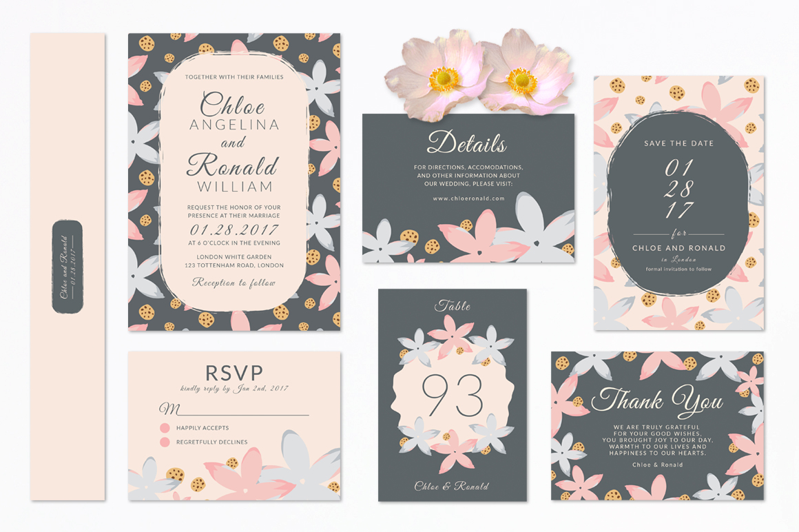 Modern Floral Wedding Invitation Set example image 1