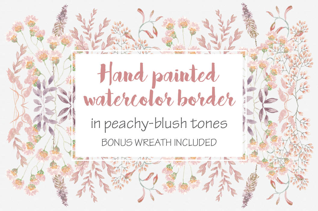 Watercolor border in peachy blush tones example image 1