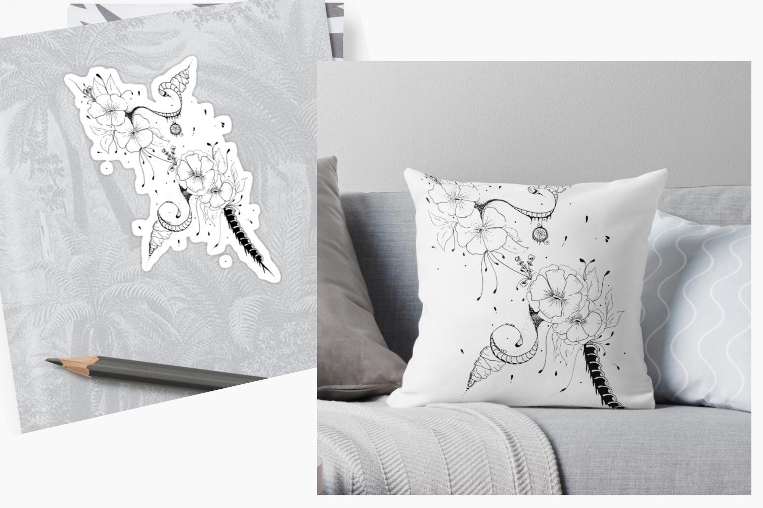 black bunch floral Doodle Art A1, SVG example image 1