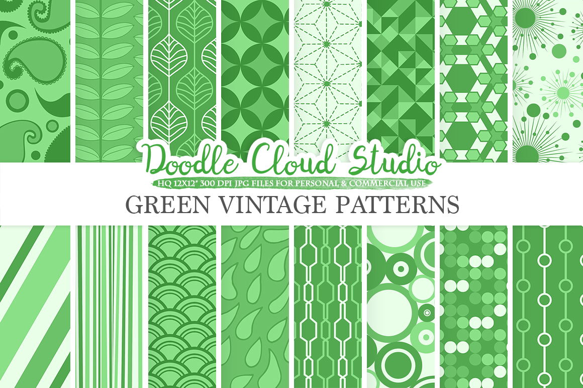 Dark Green Retro digital paper, Geometric Vintage patterns, Pine Green digital backgrounds, Instant Download, for Personal & Commercial Use example image 1