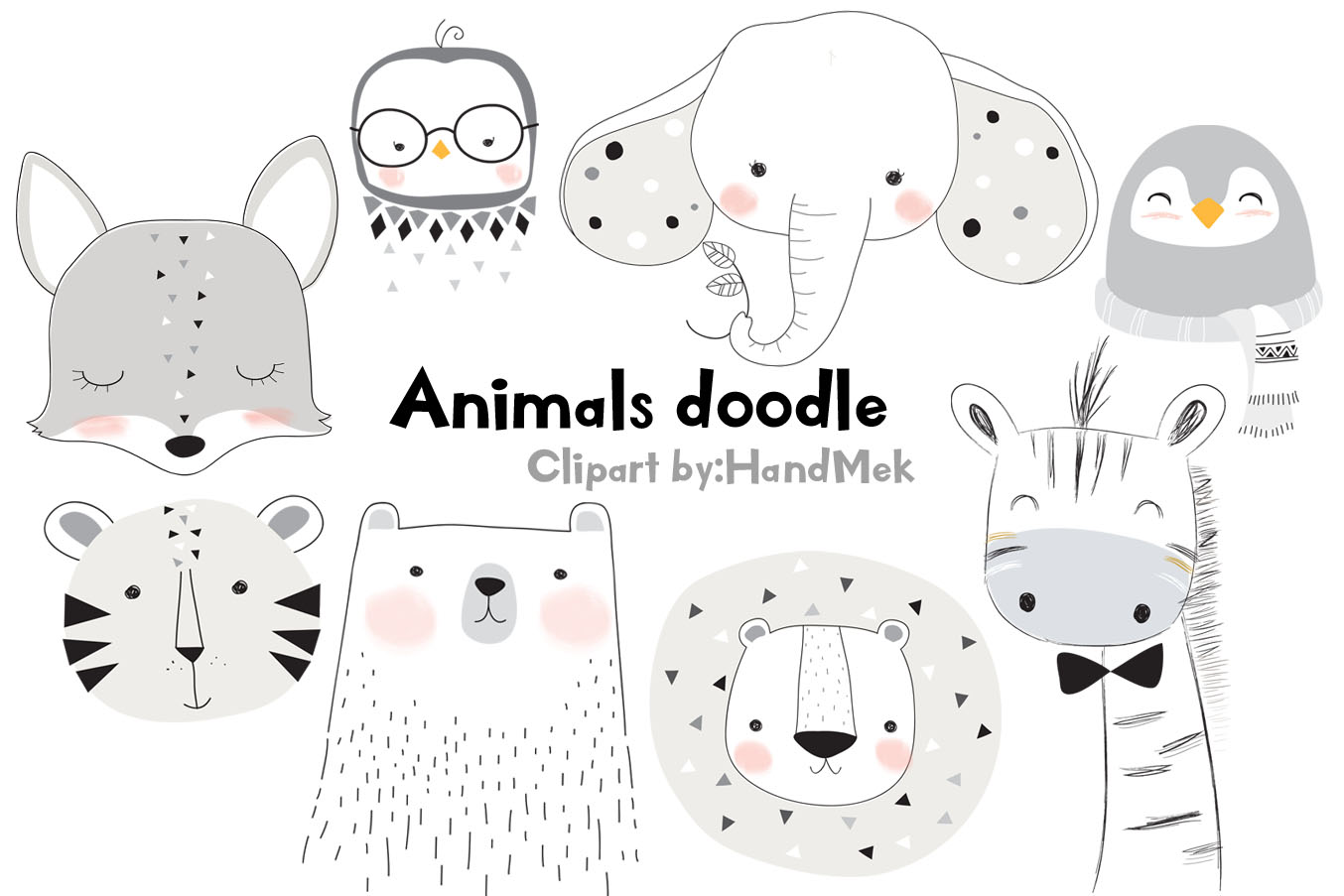 Animals doodle clipart. example image 1