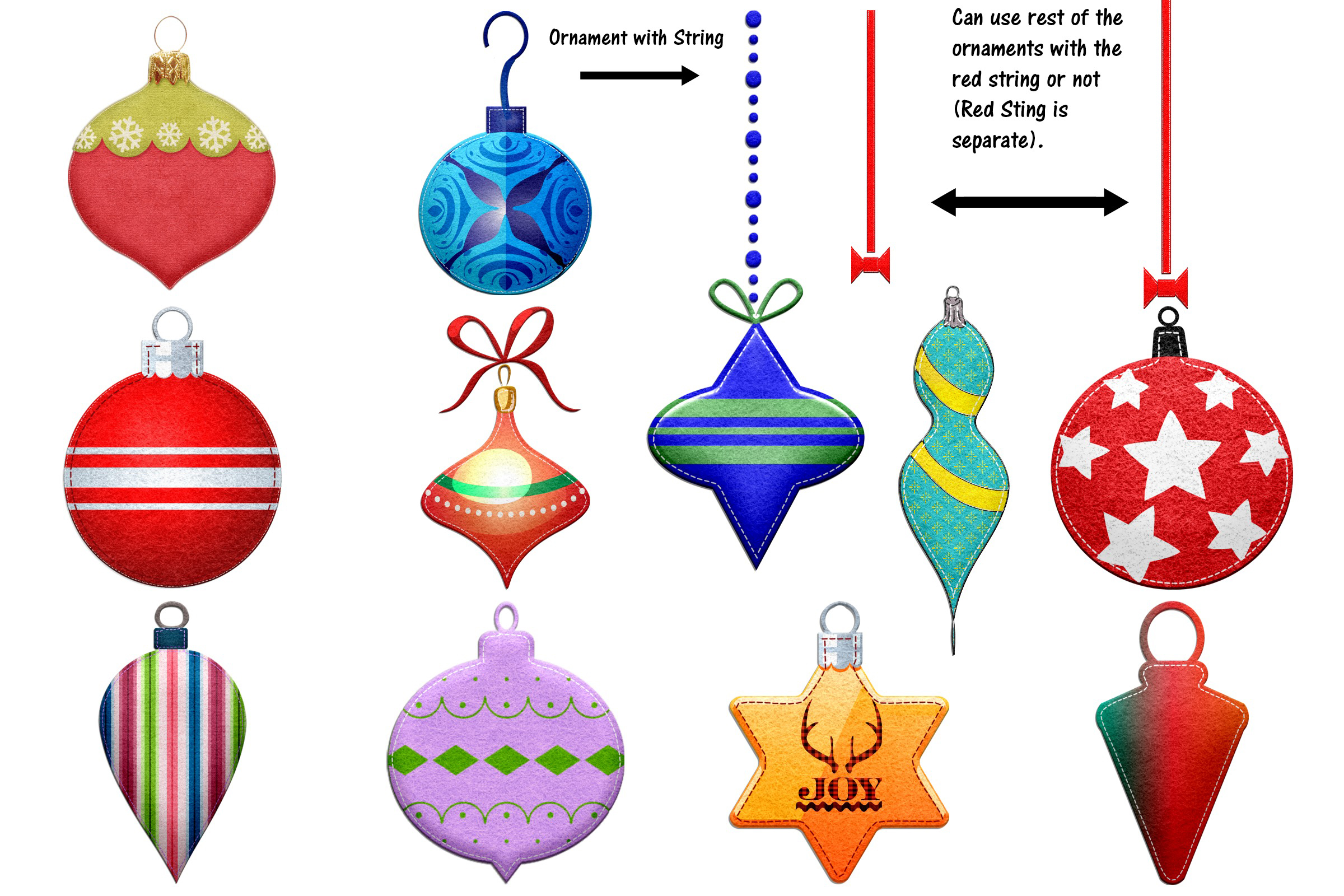 Christmas Felted Elements Clip Art example image 3