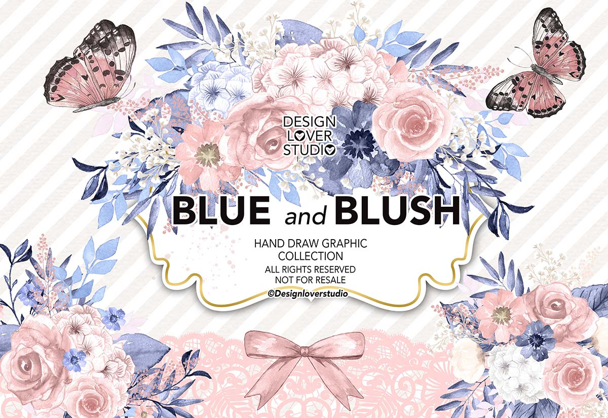 Watercolor Blue and Blush collection example image 1