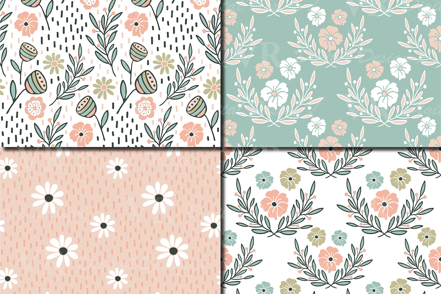 Romantic pastel floral seamless digital paper, patterns example image 2