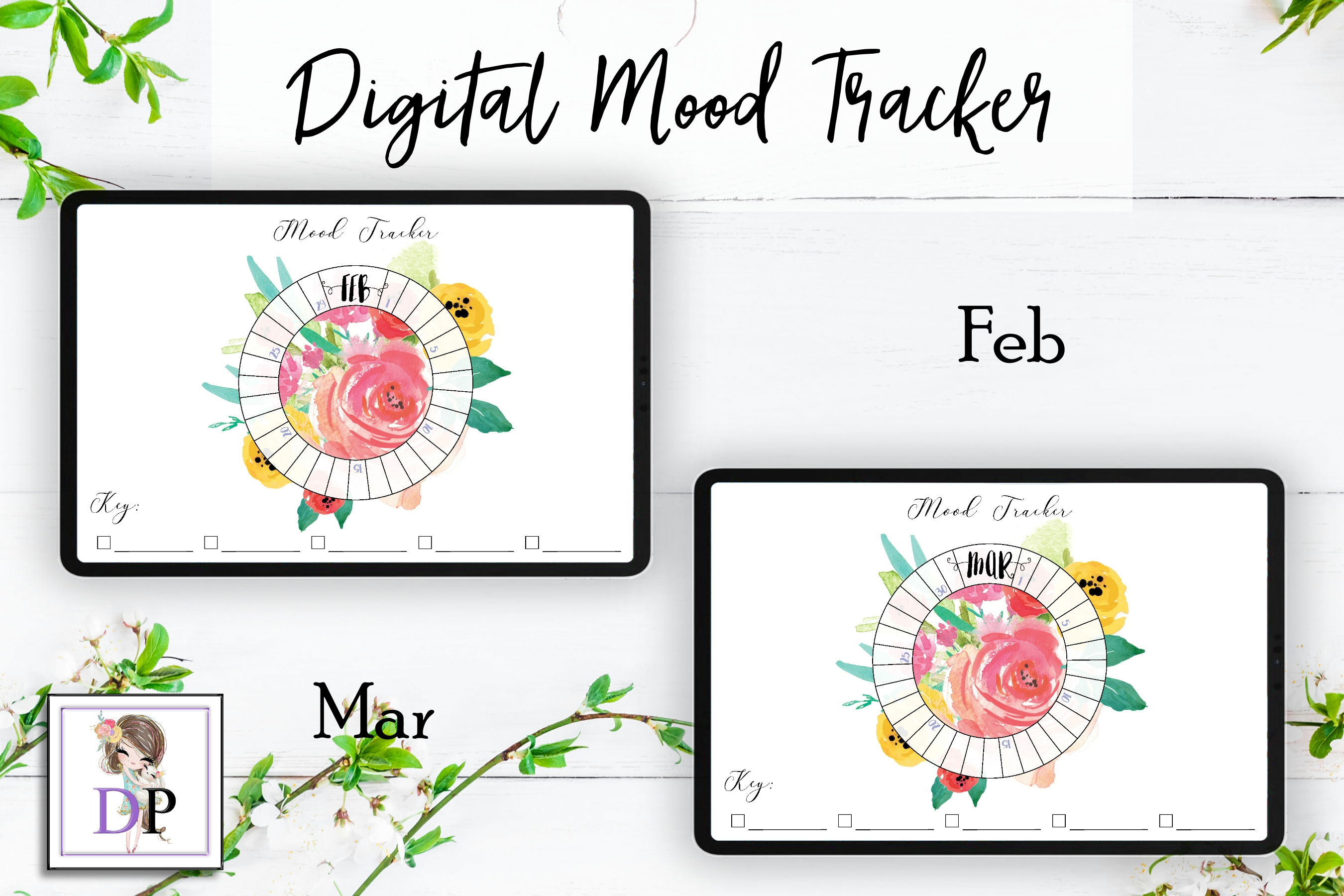 graphic relating to Mood Tracker Printable named Electronic Temper Tracker for Planner PRINTABLE mts3 Watercolor