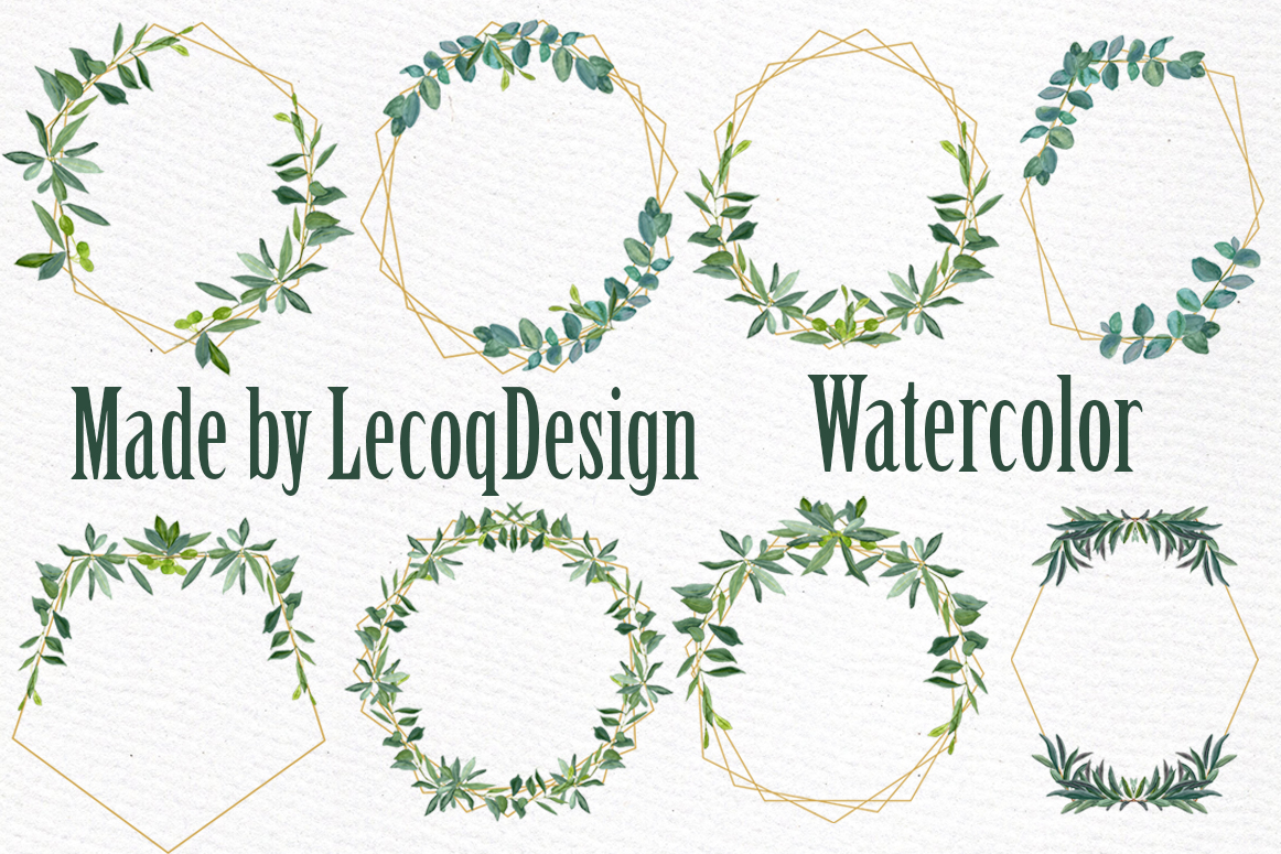 Geometric Frames Greenery clipart example image 7