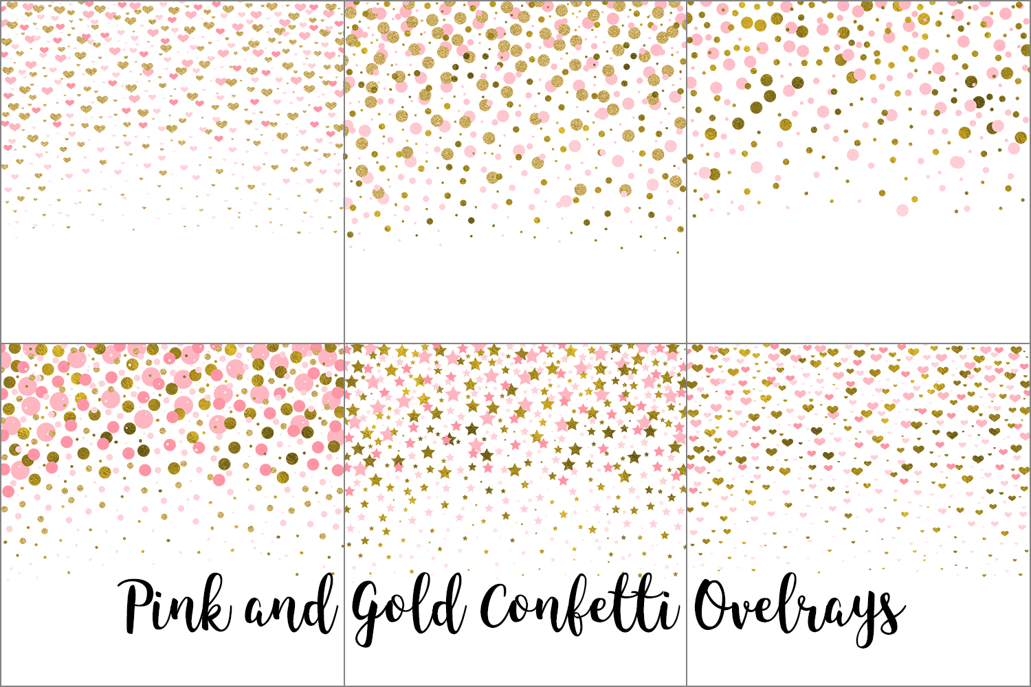 Pink and Gold Confetti Overlays, Transparent PNGs example image 6