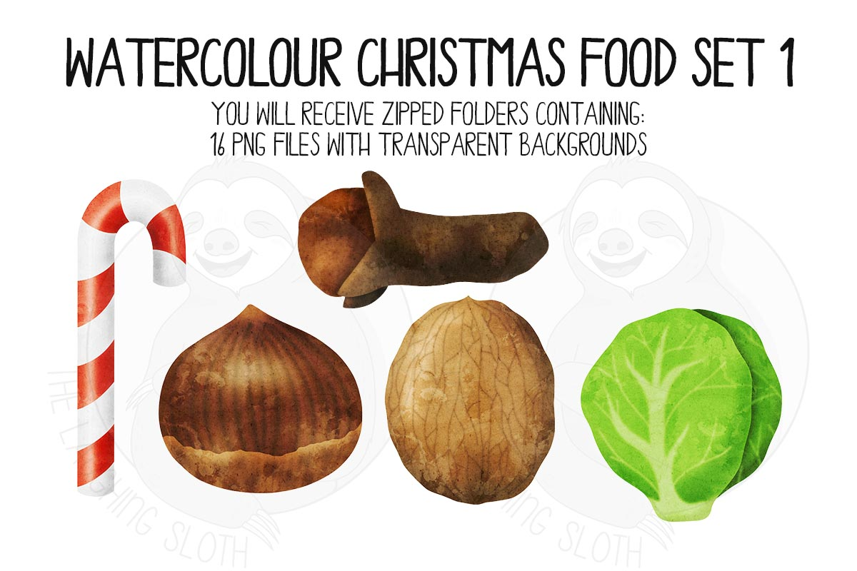 Watercolor Christmas Food Clipart Set 1 example image 3
